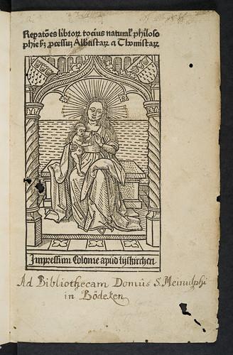 Illustrated title-page of Heimericus de Campo: Reparationes librorum totius philosophiae naturalis secundum processum Albertistarum et Thomistarum