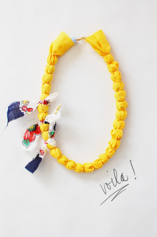 diy: fabric wrapped necklace