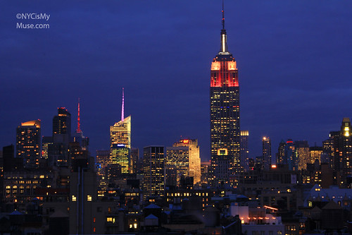 Empire State Building, Bank of America Tower and 4 Times Square showing their Valentine's Day Love