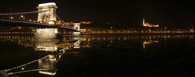 Chain bridge and the Buda side - winter night panorama 1