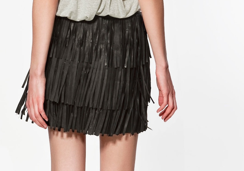 Zara leather fringe skirt 2