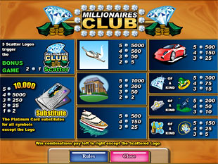 free Millionaires Club 2 Slots slot payout