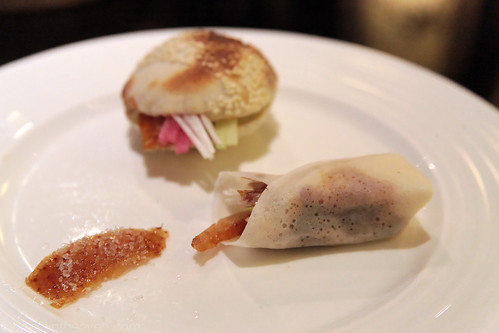 Triumverate: duck skin with sugar, duck in sesame puff, and duck in pancake