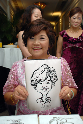 caricature live sketching for wedding dinner @ Goodwood Park Hotel - 2