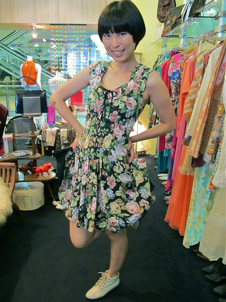 X-Wen wears a 1980s floral frock with bootiful 1980s beige booties.