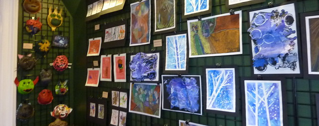 Exhibit of various artwork by children in special education classes