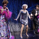 """Spoofing the always-campy Tony Awards show are Harvey Fierstein (Kevin B. McGlynn), Carol Channing (Valerie Fagan), Hugh Jackman (Nick Verina) and Marissa Jaret Winokur (Janet Dickinson) in """"Forbidden Broadway,"""" presented by the Huntington Theatre Company through at the Calderwood Pavilion at the Boston Center for the Arts. Part of the 2005-2006 season. Photo by Eric Antoniou."""