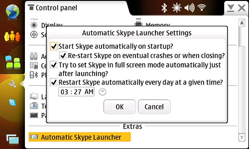 Automatic Skype Launcher Control Panel plugin snapshot