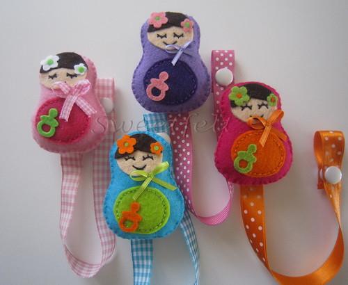 ♥♥♥ Para as chupetitas das meninas ... by sweetfelt \ ideias em feltro