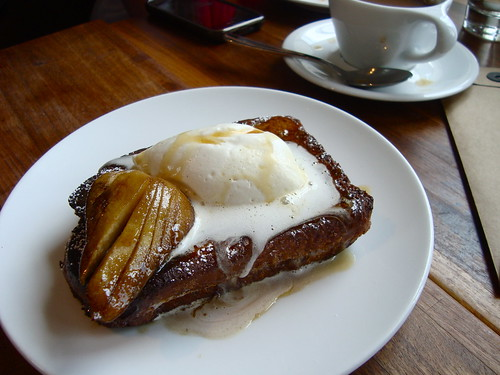 French Toast stuffed w/ quince and ricotta, star anise macerated pears and chestnut honey @ MB Post