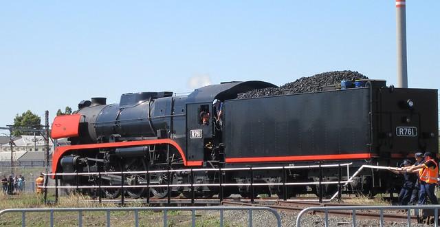 Train on turntable