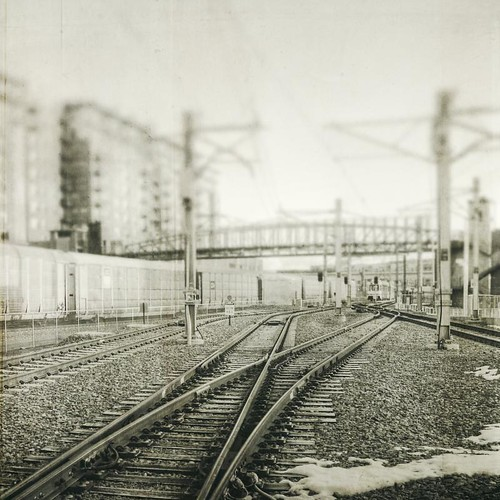 morning bridge urban blackandwhite canon square grunge traintracks tracks textured texturesquared t1i tpablackwhite