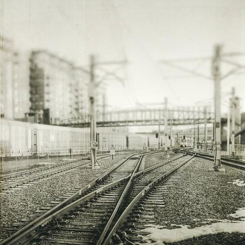 morning bridge urban blackandwhite canon square grunge traintracks tracks textured texturesquared t1i tpablackwhite