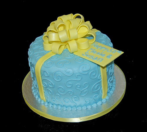 Blue and Yellow 50th Birthday Cake