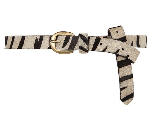 Zebra pony skin belt