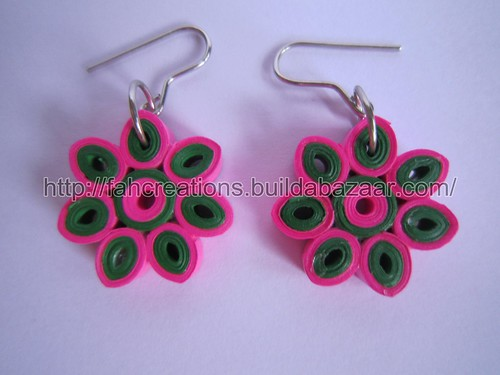 Handmade Jewelry - Paper Quilling Flower Earrings (Pink 1) - QF3 by fah2305