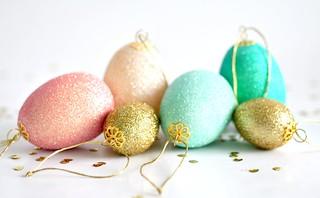 Glittered hanging eggs