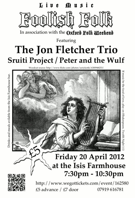 Flyer for the April event with a woodcut of a musician serenading an angel