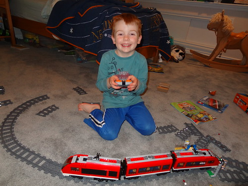 Henry with His Lego Train