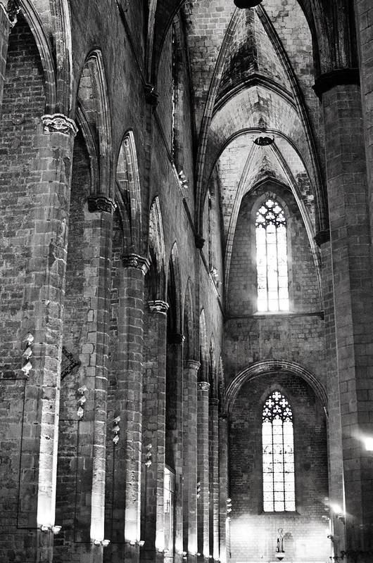 Light flows through the stained glassed windows at Barcelona's Santa María del Mar cathedral.