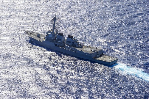 WATERS NEAR GUAM - Arleigh Burke-class guided-missile destroyer USS McCampbell (DDG 85) transits during Multi-Sail 2014. McCampbell is participating in Multi-Sail 2014, an annual exercise in the 7th Fleet area of responsibility supporting security and stability in the Indo-Asia-Pacific region.