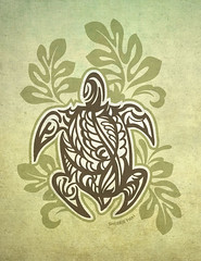 Tribal Turtle and Leaves, by Sherrie Thai