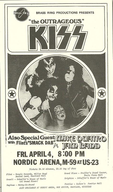 04/04/74 Kiss/ Mike Quatro Jam Band/ Smack Dab @ Nordic Arena, Heartland, MI
