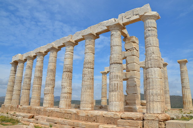 Temple of Poseidon, view of the south colonnade from the east, Cape Sounion, Greece