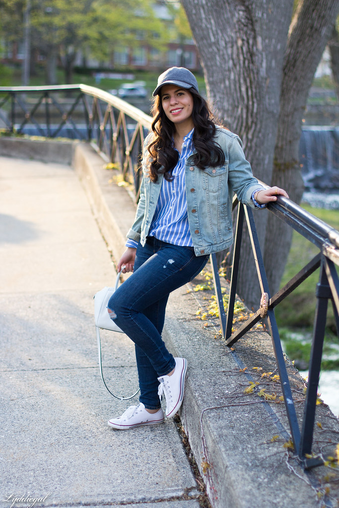 denim jacket, striped shirt, converse, ballcap-2.jpg