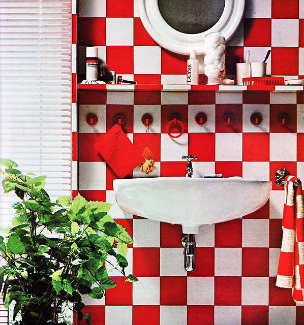 red and white check bathroom