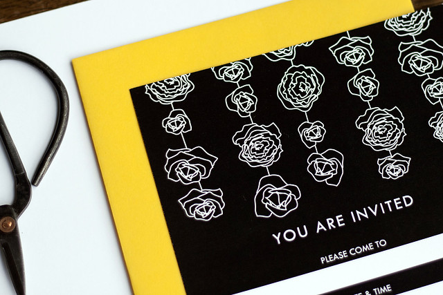 These Black and White Floral Garland FillInTheBlank Invitation Sets bring