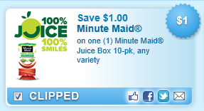 $1.00 Off On One (1) Minute Maid Juice Box 10-pk Coupon