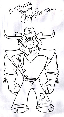 "Wild West C.O.W.-Boys of Moo Mesa :: ""DAKOTA DUDE - front stand""; Style Guide Art .. inked & Autographed by Ryan Brown  (( 1992 - 1994 ))"