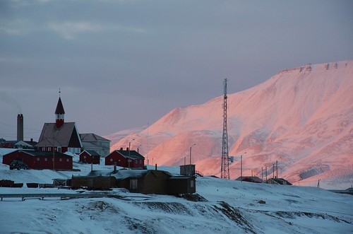 sunset over Longyearbyen