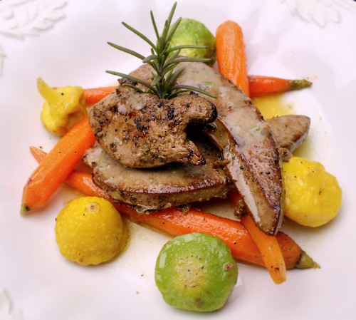 lamb's liver and spring vegetables