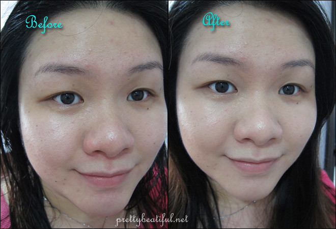 Before and After using Laneige Snow BB Soothing Cushion