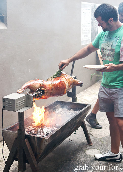 basting the lamb on the spit at freda's chippendale