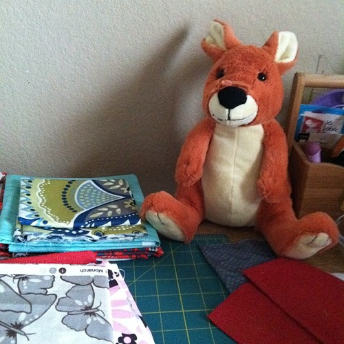 43:365 My new kangaroo buddy keeps a watchful eye on my cutting table