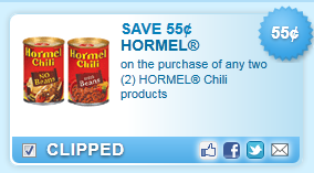 $0.55 Off 2 Hormel Chili Products Coupon