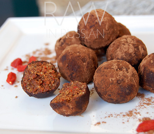 Chocolate goji truffles