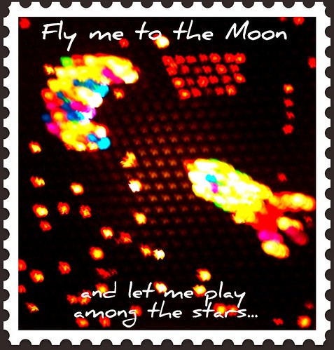 Rocket flying to the moon by Emilyannamarie