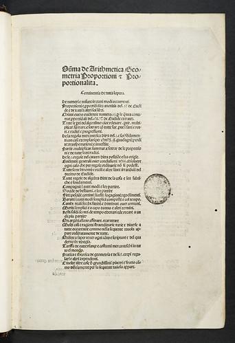 Paduan Library stamp in Lucas de Burgo S. Sepulchri: Somma di arithmetica, geometria, proporzioni e proporzionalità