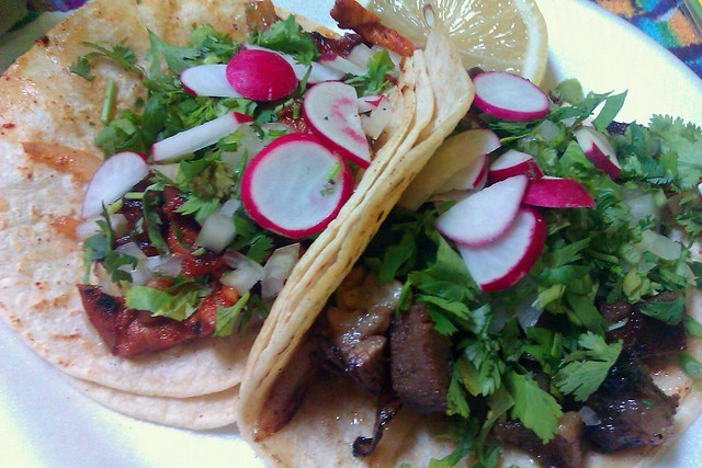 Lengua tacos at Guelaguetza in Hell's Kitchen. Photo by Donny.