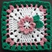 "6"" Pink & Green Flower Treble Square"