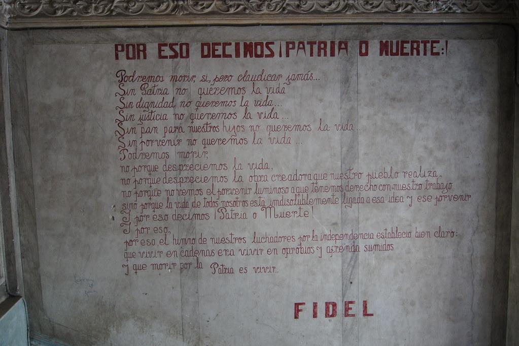 Fidel's speach on La Guarida wall