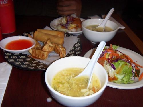 Dumpling, Eggrolls, Egg drop soup, Salad