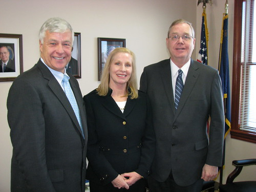 USDA Rural Development State Director Virginia Manuel; Under Secretary for USDA Rural Development Dallas Tonsager (right) ; and Maine Congressman Michael Michaud at a Rural Roundtable in Maine  About two dozen Maine business leaders discussed business development issues with Federal officials.