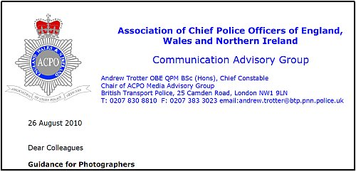 Police guidance on dealing with photographers...