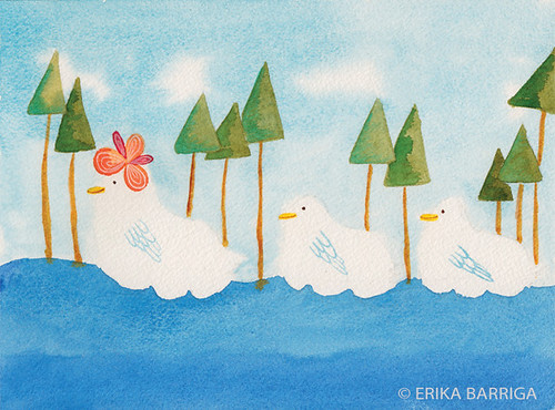 Ducks in a Row Watercolor Print