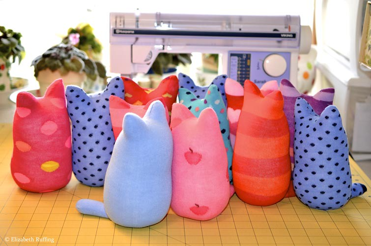 Hug Me Sock Kittens in progress, original art toys by Elizabeth Ruffing